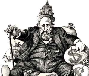 Thomas Nast cartoon of Tweed sitting atop piles of money